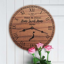 "mengliangpu8190 Japan Housewarming Gift Japanese Decor Japan Map East Asian Pacific Ocean Tokyo Osaka Home Sweet Home New Home Japan Home, Clock Only, 12"" Wall Clock - 1"
