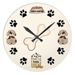 Monsety Moderne Wanduhr aus Holz für Kinder, süßes Welpen, Hund und Pfotenabdrücke, Nicht tickend, Holz, 30 cm, Geschenk für Frauen - 1