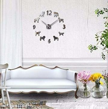 Qwerlp 018 L Uhr Uhr Wanduhren Horloge 3D Hund Muster Acryl Spiegel Aufkleber Modernhome Dekoration Wohnzimmer Quarz - 2