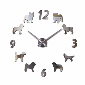 Qwerlp 018 L Uhr Uhr Wanduhren Horloge 3D Hund Muster Acryl Spiegel Aufkleber Modernhome Dekoration Wohnzimmer Quarz - 1
