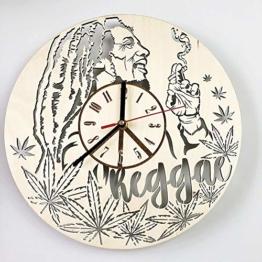 Reggae Bob Marley Wanduhr 12 Zoll große, Nicht tönende stille Wanduhr dekorativ, batteriebetriebene Quarz Analog Ruhige Wanduhr, für Wohnzimmer, Küche, Schlafzimmer - 1