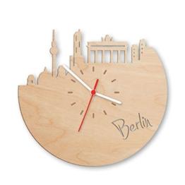 Skyline Berlin Wanduhr aus Birken-Holz Made in Germany | Design Uhr aus Echtholz | Wand-Deko aus Birke | Originelle Wand-Uhr | Moderne Wand-Uhr im Skyline Design | Wand-Dekoration aus Natur-Holz - 1