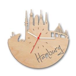 Skyline Hamburg 2017 Wanduhr aus Birken-Holz Made in Germany | Design Uhr aus Echtholz | Wand-Deko aus Birke | Originelle Wand-Uhr | Moderne Wand-Uhr im Skyline Design | Wand-Dekoration aus Natur-Holz - 1