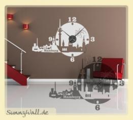 Sunnywall Wandtattoo Uhr KARLSSON Skyline Hamburg Wanduhr Stadt Farbe: Weiß - 1