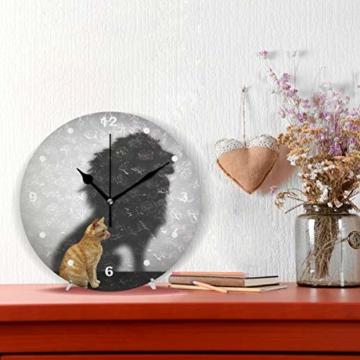 SUNOP Uhr für Kinder, mit Öl Bedruckte Katze mit Löwen-Schatten; Wanduhren für Wohnzimmer, Schlafzimmer und Küche im Vintage-Stil - 2