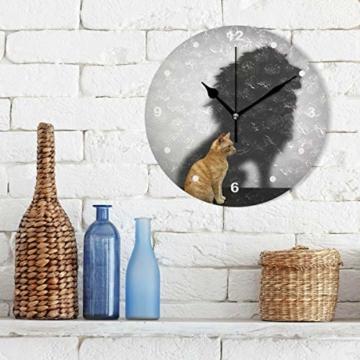 SUNOP Uhr für Kinder, mit Öl Bedruckte Katze mit Löwen-Schatten; Wanduhren für Wohnzimmer, Schlafzimmer und Küche im Vintage-Stil - 3