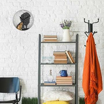 SUNOP Uhr für Kinder, mit Öl Bedruckte Katze mit Löwen-Schatten; Wanduhren für Wohnzimmer, Schlafzimmer und Küche im Vintage-Stil - 4