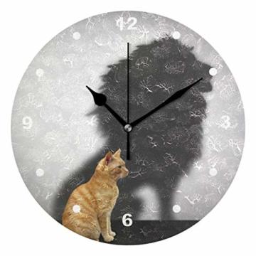 SUNOP Uhr für Kinder, mit Öl Bedruckte Katze mit Löwen-Schatten; Wanduhren für Wohnzimmer, Schlafzimmer und Küche im Vintage-Stil - 1
