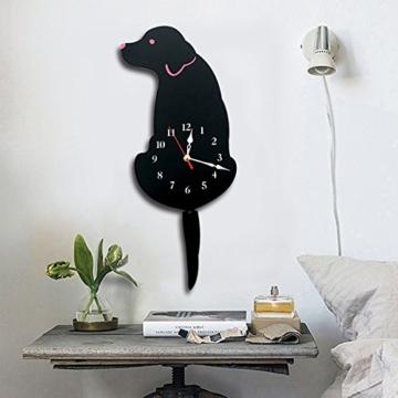 Ukey Wanduhr Kreative Hund Acryl Wanduhr mit Schwingschwanz-Pendel für  Wohnzimmer, Schlafzimmer, Kinderzimmer, Küche und Wohndeko – Batterie Nicht  ...