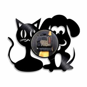 Vinyl-Wanduhr, Motiv: Hund und Katze, Einzigartige Tiere, Handgefertigt, Geschenk für Kinder - 2