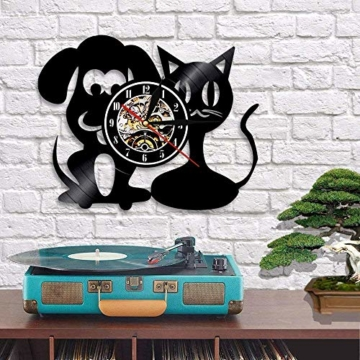 Vinyl-Wanduhr, Motiv: Hund und Katze, Einzigartige Tiere, Handgefertigt, Geschenk für Kinder - 3
