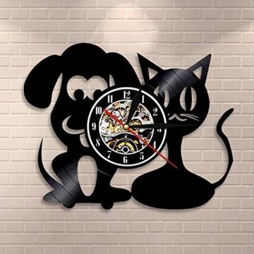 Vinyl-Wanduhr, Motiv: Hund und Katze, Einzigartige Tiere, Handgefertigt, Geschenk für Kinder - 4