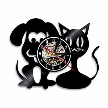 Vinyl-Wanduhr, Motiv: Hund und Katze, Einzigartige Tiere, Handgefertigt, Geschenk für Kinder - 1