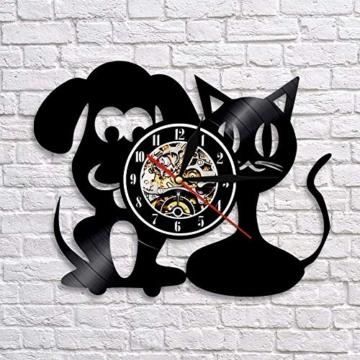 Vinyl-Wanduhr, Motiv: Hund und Katze, Einzigartige Tiere, Handgefertigt, Geschenk für Kinder - 5