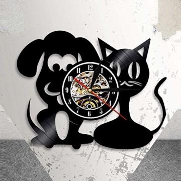 Vinyl-Wanduhr, Motiv: Hund und Katze, Einzigartige Tiere, Handgefertigt, Geschenk für Kinder - 6