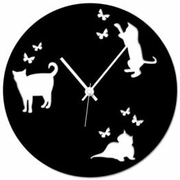 WANDKINGS Wanduhr Katzen aus Acrylglas, Farbe: SCHWARZ (hochglänzend) - 1