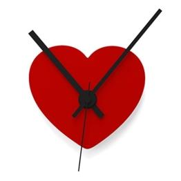 """Wandkings Wanduhr SOLO CLOCK """"Herz"""" mit Uhrwerk & Uhrzeigern - in 13 Farben erhältlich (Farbe: Uhr=Hellrot glänzend, Zeiger=Schwarz) - 1"""