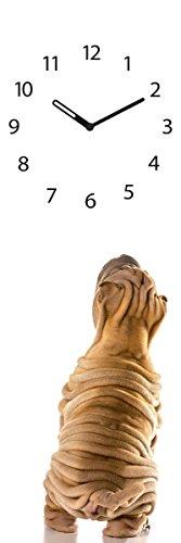 Wanduhr aus Glas, Dog Clock, brauner Hund mit Falten, 20x60 cm von Eurographics - 1