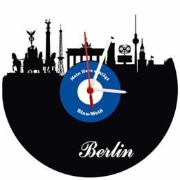 Wanduhr Berlin Schallplattenuhr mit Quarzwerk Berlinskyline Blau-weiß Wand-Deko Design Uhr Wand-Dekoration Retro-Uhr Vintage-Uhr - 1