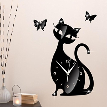 Wanduhr Digital Schwarz Nette Katze Spiegel Modernes Design Wohnkultur Uhr Wandaufkleber LuckyGirls - 2