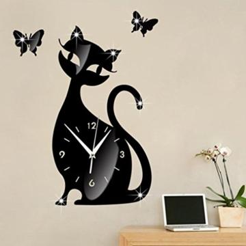Wanduhr Digital Schwarz Nette Katze Spiegel Modernes Design Wohnkultur Uhr Wandaufkleber LuckyGirls - 3