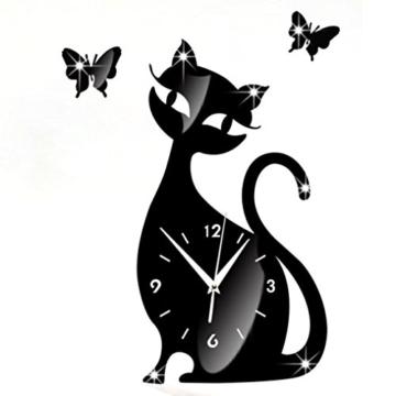 Wanduhr Digital Schwarz Nette Katze Spiegel Modernes Design Wohnkultur Uhr Wandaufkleber LuckyGirls - 1