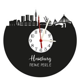 Wanduhr Hamburg Skyline mit Ziffernblatt, Schallplattenuhr mit Quarzwerk - 1
