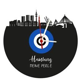 Wanduhr Hamburg Skyline,blau-weiß, Fußballuhr, Vinyluhr/Schallplattenuhr mit Quarzwerk - 1