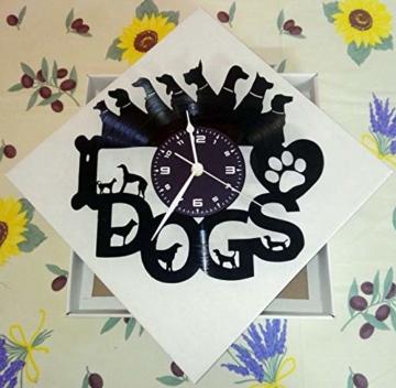 Wanduhr Vinyl Schallplatte LP 33U Instant Karma Geschenk Vintage Handmade–Tiere Haus I Love Dogs Hund Hunde - 2
