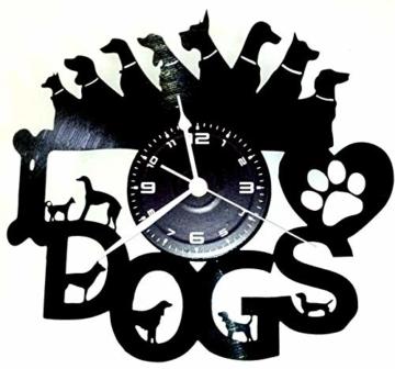 Wanduhr Vinyl Schallplatte LP 33U Instant Karma Geschenk Vintage Handmade–Tiere Haus I Love Dogs Hund Hunde - 1