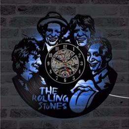 Wmbz Cd LED Wanduhr The Rolling Stone Band Klassische Uhren Sieben Farben Ändern Modernes Design Schallplatte Wanduhr Home Decor - 1