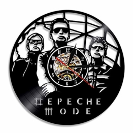 WXK Wanduhr Silent Sweep Nicht tickt, Schallplatte Uhr Depeche Mode Band Ornamente für Schlafzimmer Wohnzimmer (Durchmesser 30 cm),A - 1