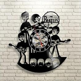 YUN Clock@ The Beatles Wanduhr Aus Vinyl Schallplattenuhr Upcycling 3D Design-Uhr Wand-Deko Vintage Familien Zimmer Dekoration Kunst Geschenk Schwarz, Durchmesser 30 cm - 1