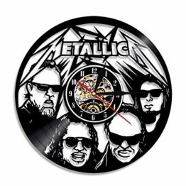 YUN Clock@ Wanduhr aus Vinyl Schallplattenuhr Upcycling Metallica(B) - 3D Design-Uhr Wand-Deko Vintage Familien Zimmer Dekoration Kunst Geschenk, Durchmesser 30 cm - 1