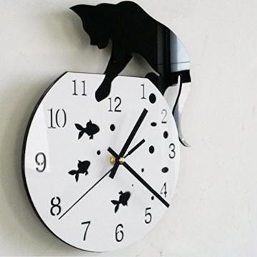 Zarupeng Acryl Wanduhr, Katze & Goldfisch Uhr ohne Tickgeräusche Lautlos Wanduhr Wall Clock Wandaufkleber Home Decor (One Size, A) - 2