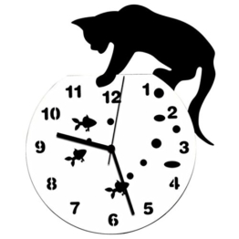 Zarupeng Acryl Wanduhr, Katze & Goldfisch Uhr ohne Tickgeräusche Lautlos Wanduhr Wall Clock Wandaufkleber Home Decor (One Size, A) - 1