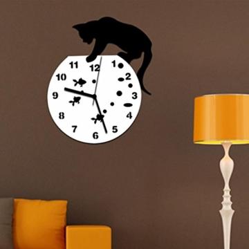 Zarupeng Acryl Wanduhr, Katze & Goldfisch Uhr ohne Tickgeräusche Lautlos Wanduhr Wall Clock Wandaufkleber Home Decor (One Size, A) - 4
