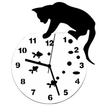 Zarupeng Acryl Wanduhr, Katze & Goldfisch Uhr ohne Tickgeräusche Lautlos Wanduhr Wall Clock Wandaufkleber Home Decor (One Size, A) - 1