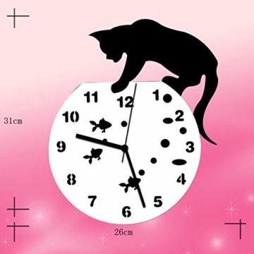 Zarupeng Acryl Wanduhr, Katze & Goldfisch Uhr ohne Tickgeräusche Lautlos Wanduhr Wall Clock Wandaufkleber Home Decor (One Size, A) - 5