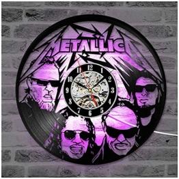 """ZhangXF Metallica LED Leuchtende Schallplatten Wanduhr, 12""""Retro Lp Hintergrundbeleuchtung Moderne Manuelle Kunst Dekoration Nachtlicht Uhr Sieben Farben - 1"""