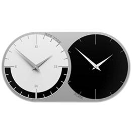 Calleadesign - Wanduhr World Weltzeituhr mit 2 Zeitzonen - Schwarz - 1