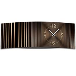 Wanduhr XXL 3D Optik Dixtime abstrakt bronze 30x90 cm leises Uhrwerk GL-007 - 1