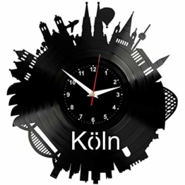 EVEVO Köln Wanduhr Vinyl Schallplatte Retro-Uhr groß Uhren Style Raum Home Dekorationen Tolles Geschenk Uhr Köln - 1