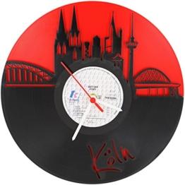 GRAVURZEILE Köln Fan-Uhr Wanduhr aus Vinyl Schallplattenuhr Upcycling Design-Uhr Vinyl-Uhr Wand-Deko Vintage-Uhr Wand-Dekoration Retro-Uhr Made in Germany - 1