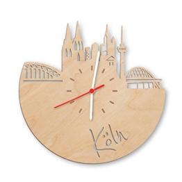 GRAVURZEILE Skyline Köln Wanduhr aus Birken-Holz Made in Germany Design Uhr aus Echtholz Wand-Deko aus Birke | Originelle Wand-Uhr Moderne Wand-Uhr im Skyline Design Wand-Dekoration aus Natur-Holz - 1