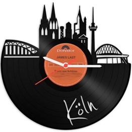GRAVURZEILE Wanduhr aus einer echten Schallplatte - Wähle eine Stadt - 30cm Groß lautloses Uhrwerk - Schallplattenuhr, ideale Geschenkidee Farbe Köln - 1