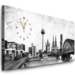 Julia-Art Bilder - Köln Leinwandbild - 100 X 40 cm Wandbild mit Uhr - Wanduhr Geräuschlos - Küchenuhr Kunstdruck xxl Panorama - Fertigbild sofort aufhängbar Wu-12a-16 - 1