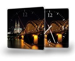 Printalio - Skyline Köln - Lautlose Wanduhr mit Fotodruck auf Polycarbonat | geräuschlos kein Ticken Fotouhr Bilderuhr Motivuhr Küchenuhr modern hochwertig Quarz | 30 cm x 30 cm mit weißen Zeigern - - 1