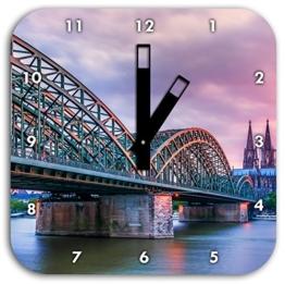 Stil.Zeit Prächtige Hohenzollernbrücke in Köln, Wanduhr Quadratisch Durchmesser 28cm mit schwarzen eckigen Zeigern und Ziffernblatt - 1