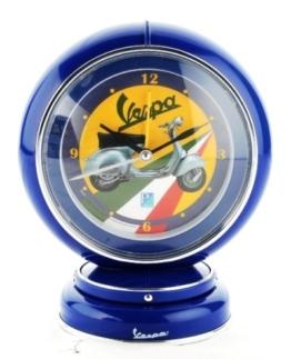 VESPA Nostalgie Globe Alarm Clock BLAU Analog 19 CM NEU+OVP - 1
